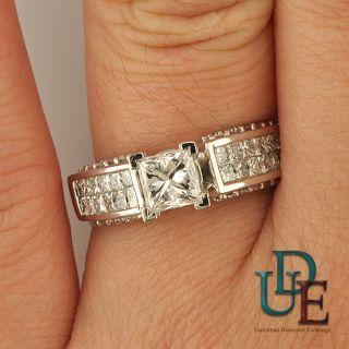 GIA Diamond Engagement Ring 2 1 2 Ct Princess Round Cut 14k White Gold
