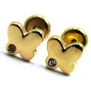 Gold 18K GF Earrings Baby Girl Infants CZ White Crystal Butterfly