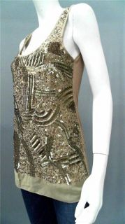 Gold Hawk Cosmic Misses XS Sequin Tank Top Nutmeg Sleeveless Shirt