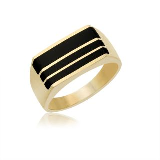Yellow Gold Black Onyx Ring Band with 3 Layer of Authentic Onyx