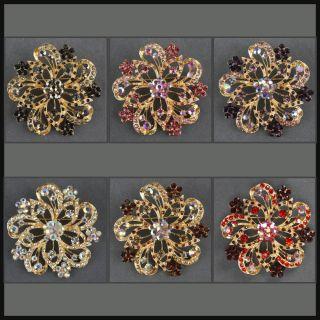 Flower Rhinestone Gold Brooch Pin BH035