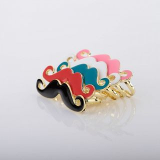 Gold Plated Enamel Beard Mustache Double Finger Ring Blue