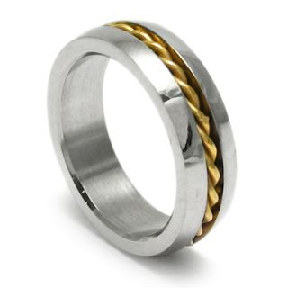 Stainless Steel Mens Gold Rope Stripe Band Ring