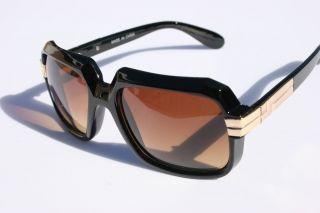 Black Gold Gazelle Run DMC Rapper Sunglasses Brown Lens 80s Rap
