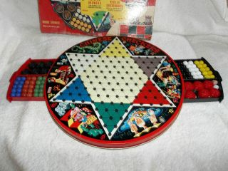 Vintage Chinese Checkers Game Metal board with Drawers Marbles