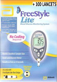 FreeStyle LITE Blood Glucose Meter Kit Diabetic Complete Set w alarm+