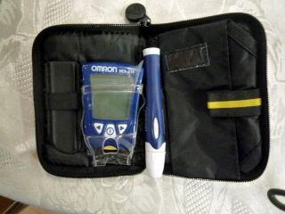 Omron Blood Glucose Meter and Lansing Device Bag No Test Strips Lanset