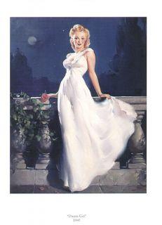 Gil Elvgren Pinup Print Redhead in White Gown Dream Girl