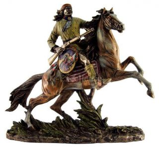 GERONIMO ON HORSE Apache Indian Warrior Statue Sculpture Native