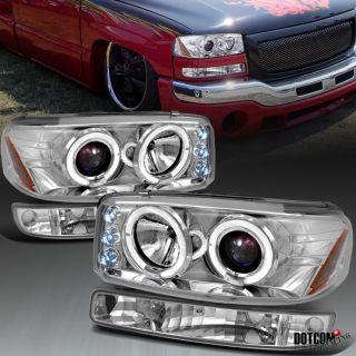 99 06 GMC Sierra Yukon XL LED Headlights Bumper Parking Lamp Chrome