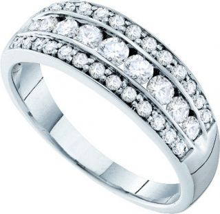 Ladies 14k White Gold 0 72ct Round Cut Diamond Wedding Band