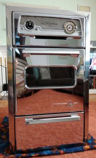 RETRO Mid Century CALORIC Ultramatic CHROME Gas Built In WALL OVEN