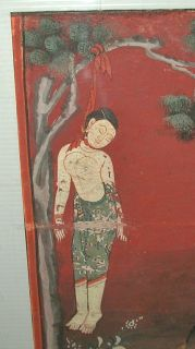 Buddhist Print Woman Hanged in Tree Monk Burma India Thailand Macabre