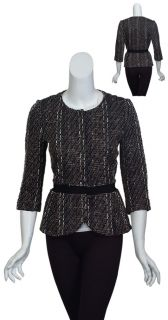 Giambattista Valli Refined Tweed Fitted Black Ivory Metallic Blazer