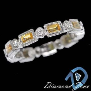 Yellow Sapphire Diamond Bezel White Gold Wedding Band