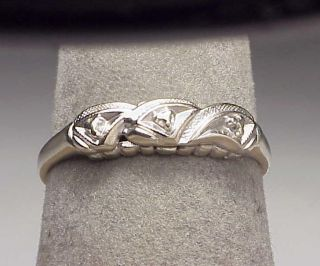 Vintage 14k White Gold Band Ring