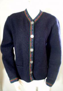 GIESSWEIN Austria Navy Blue Boiled Wool Cardigan Sweater Jacket 38 M