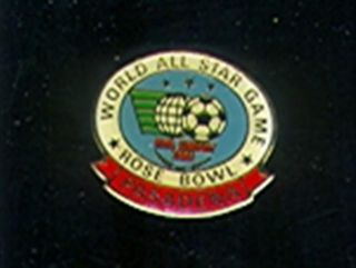 1982 World All Sar Soccer Game Press Pin Rose Bowl SKU 27579