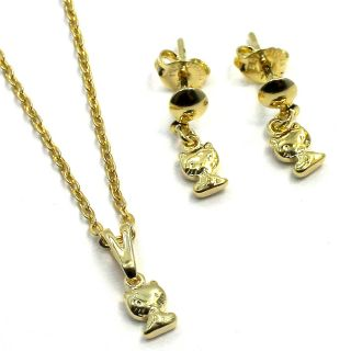 Set Gold 18K GF Small Hello Kitty Tiny Charm Pendant Dangle Earrings