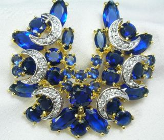 Gold 18k 14k gf Tanzanite Sapphire Blue Color Stones Crescent Pin