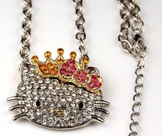 Hello Kitty Crystal Necklace Pendant Pink Gold Crown