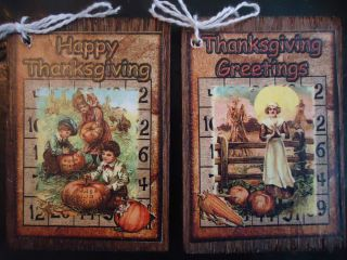 Vintage Fall Hang Tags PRIMITIVE Bowl Fillers THANKSGIVING Gift Tags