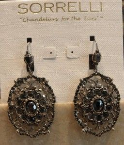 Sorrelli Black Ice Collection Crystal Earrings New