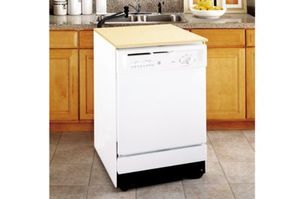GE, PORTABLE DISHWASHER   Energy Star White with Wood Butcher Block