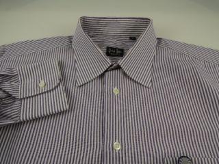 Gitman Bros Purple Stripe Dress Shirt 16 5 in 42 cm Full Cut