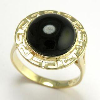14k Solid Yellow Gold Greek Key Black Onyx Ring R446 Free Worldwide