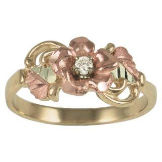 10K Gold Rose Diamond Ring Black Hills Gold Leaves