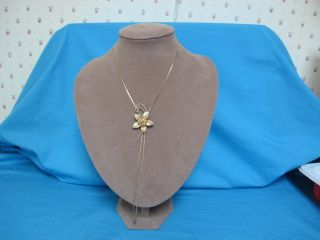 Gold Tone Slider Necklace with Rose on Star Leaves