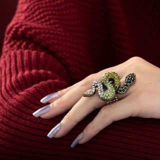 Vintage Gold Plated Stretch Pave Rhinestone Snake Cocktail Ring Green
