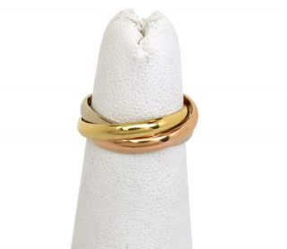 CARTIER TRI COLOR 18K GOLD TRINITY ROLLING BAND RING CARTIER SIZE 48