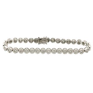 White Gold 2 02C Pave Diamond Flower Circle Tennis Milgrain Bracelet