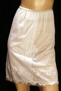 60s 70s USA Sheer White Nylon 5 Chiffon Lace Half Slip Gilead
