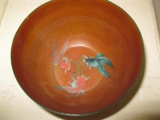 Vintage Antique Chinese Hand Painted Small Dragon Goldfish Bowl