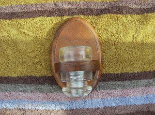 Primitive Vintage Wall Hanging Wood Sconce Glass Insulator Globe