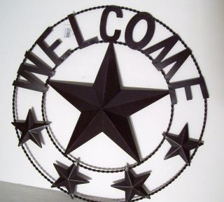 Metal Star Welcome Sign 18 Diameter Circle Braided Wire