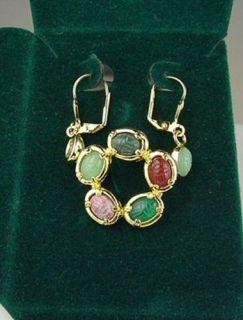 Gold Hge Green Red Gemstone Scarab Brooch Earring Set
