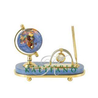 Gemstone Globe Pen Set Gold Marine Blue Stone Base $340