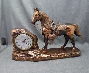 vtg GILBERT TV mantle electric clock HORSE western cowboy model F