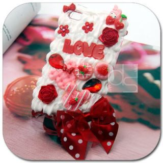 LOVE 3D Cream Hard Skin Case Apple iPod Touch iTouch 4G 4th Generation