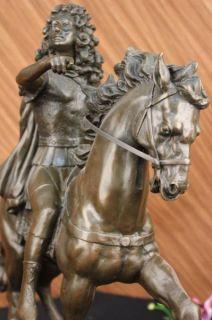 French Signed Girardon King Louis XIV Bronze Statue Sculpture Figurine