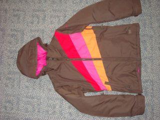 Roxy Youth Ski Jacket Roxy Snow Size XS Brown w Hood Fits 14 16 or 1