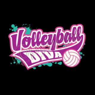 Girls Volleyball Diva Colorful Neon Style Logo Black T Shirt $9 95