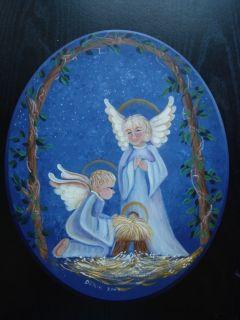 Angels Jesus Christ Original Art Wood Angel Cherub Wooden Plaque Wall