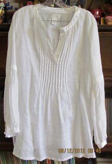 Soft Surroundings White Gauze Pintucked Linen Tunic Top Shirt Blouse