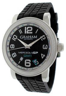 Graham Mercedes GP Black Dial Automatic Black Rubber Mens Watch