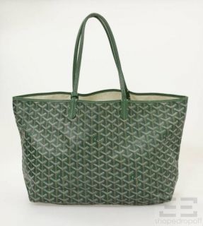 Goyard Green Chevron Coated Canvas Leather Trim St Louis PM Tote Bag